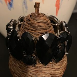 Black  Teardrop Crystal Stretch Bracelet